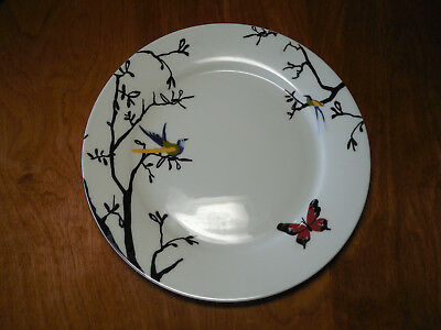 "Roscher Bone China NORA Set of 3 Dinner Plates 10 1/2"" Bird Butterfly Branches A"