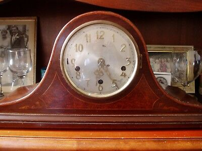 Vintage Napoleon Hat Westminster Chime Mantel Clock  Inlaid Wood Case