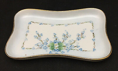 Antique M.Z. Austria Small Tray with Blue Floral Center Piece and gold trim
