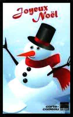 "french merry x-mas hbc/zellers/laBaie Gift Card ""snow man"" COLLECTIBLE NO VALUE"
