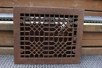 "Antique 12"" x 10 Heavy Cast Iron Floor Heating Vent Grate Hardware Home Art Deco"