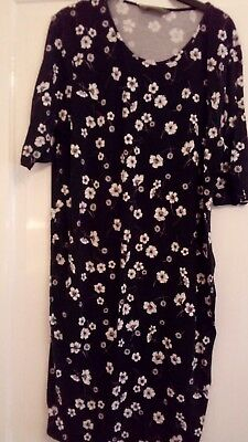 Black and white floral maternity dress size 20 mothercare