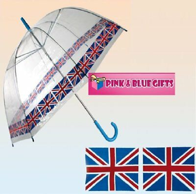 Novelty British Flag Union Jack Umbrella Clear Dome Adult Brolley Olympic 284900