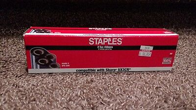 Staples SFS-20R Fax Ribbon 2 Pack Compatible with Sharp UX3CR Black NIB
