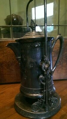 Victorian James W.tufts Silverplate Coffee Tea Pot Heavy Repousse On Stand