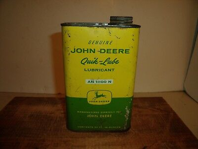 Vintage John Deere Advertising Oil Can Genuine Quik-Lube Lubricant An11100N Tin