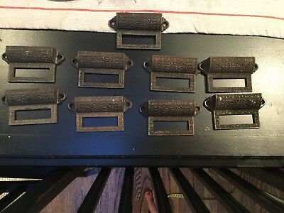 "9 Antique Apothecary Bin Pulls drawer handles 3 1/4"" vintage old, card holder"