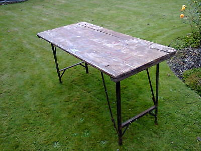 Scruffy old folding trestle table, possibly WWI vintage, COLLECTION ONLY Swansea