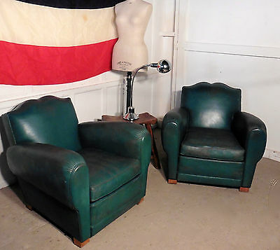 A Pair of French Art Deco Leather Club Chairs in Green
