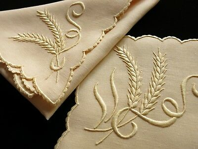 NEW WHEAT Vintage Marghab 16pc Placemats Napkins Madeira Hand Embroidery Linen