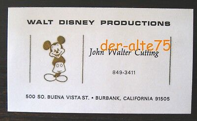 Vtg Walt Disney Prod Card~Animator & Head Foreign Dept.~Embossed Mickey~