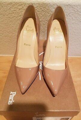 $675 Christian Louboutin Pigalle 100 Patent Leather Nude Pumps Heels Size 36