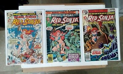 Red Sonja comic book lot(Marvel,1970s)Marvel Feature #4 + 6, Red Sonja #14