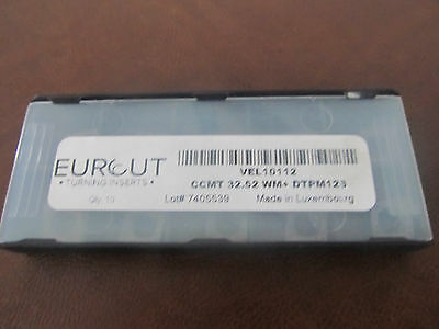10 Pcs Eurcut Ccmt 32.52-Wm Dtpm 126 Carbide Inserts Made In Luxembourg