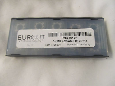 10 Pcs Eurcut Cnmg 432-Wm Dtcp 116 Carbide Inserts Made In Luxembourg