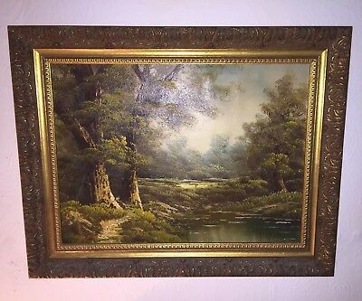 Antique Original Oil Painting Showing Trees Forest Scene Signed By The Artist
