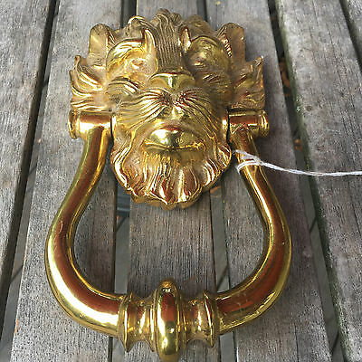 Large Antique Solid Brass Lion Head Door Knocker Made in England - Over 3 Pounds