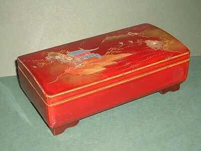 Japanese Vintage Wood Lacquer Jewelry, Music Box, Hand Painted, Landscape Japan