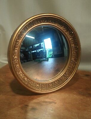 Antique Regency Style Vintage Convex Porthole Circular Gold Gilt Mirror