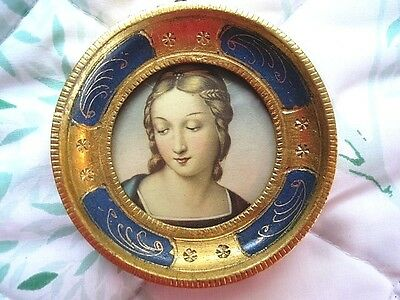 Vintage Delicate Gold & French Blue Tole Wood Italian Florentine Madonna Picture