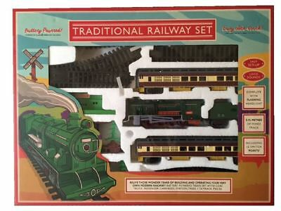 Traditional Railway Set 5.72 Metres Track Classic Steam Train Set Toy Gift NEW