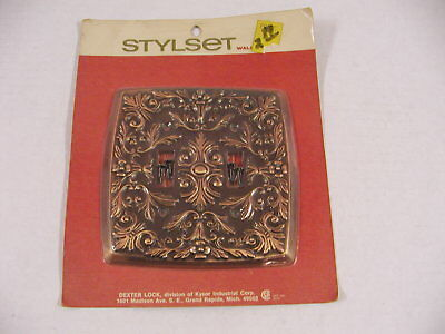 Vintage Ornate Metal Double Light Switch Cover Factory Sealed