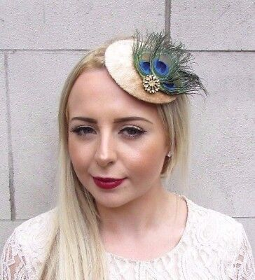 Gold Green Blue Peacock Feather Pillbox Hat Fascinator Hair Clip Races Vtg 3953