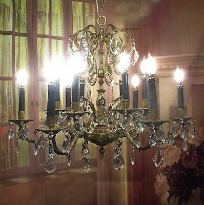 Antique Vintage Chandelier Bronze French Empire Crystals 12 Light  Grand