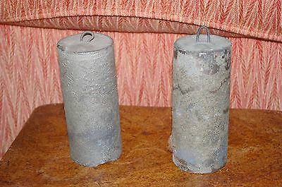 Pair of antique longcase Grandfather cast iron clock weights