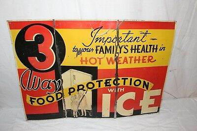 "Rare Vintage 1930's Ice Refrigerator/Freezer Gas Oil 30"" Embossed Metal Sign"
