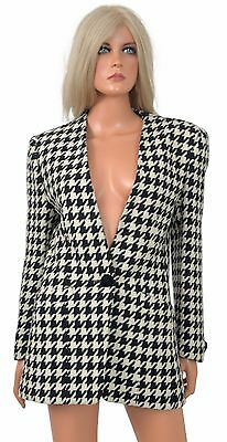 Vintage 1980s Evan-Picone LARGE HOUNDSTOOTH BLAZER Suit Jacket Wool Alabama
