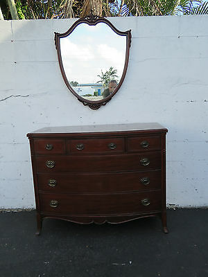 Carved Mahogany Bow Front Dresser with Mirror 8472