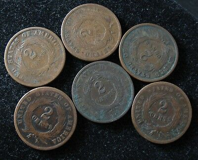 Two Cents copper ALL 6 FOR ONE BID  #65
