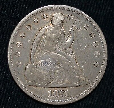1871 Liberty Seated Dollar No Motto
