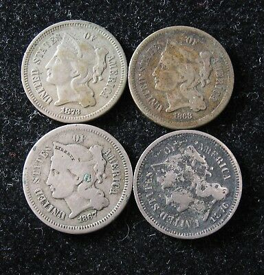 3 Cent Nickels 4 different years ALL 4 FOR ONE BID  #66