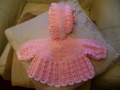 hand crochet babys bobble cardigan ,and bonnet prem pink