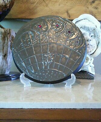 Vintage Pewter architectural plaque, spider in web, gothic display .sale 12.99