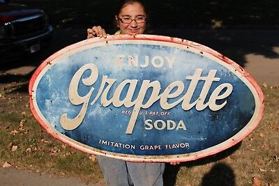 "Large Vintage 1940's Grapette Grape Soda Pop Gas Oil 48"" Embossed Metal Sign"