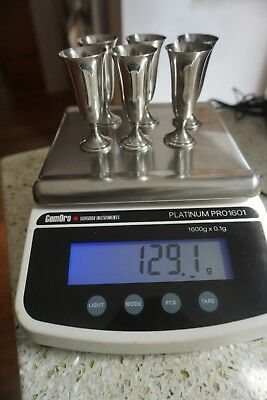 Alvin Sterling Silver 129.1 Grams set of 6 Cordials Scrap or Useable Cups*NR*NR*