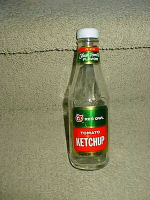 Vintage Red Owl Grocery Food Store Glass Tomato Ketchup Bottle 14oz Size