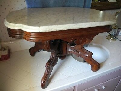 Antique Victorian MARBLE TOP TABLE ornate carving, perfect condition