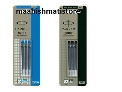 3 BLACK + 3 BLUE- Parker Quink Ink Cartridge for Fountain Pen- FREE SHIPPING