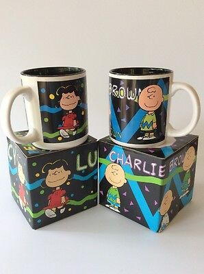 Vintage - Peanuts - Lucy & Charlie Brown- Accents Coffee Mugs - 1994 - Set Of 2