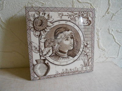 """!!! Lovely Victorian """" Classical Figure """" Decorated Tile.!!!"""
