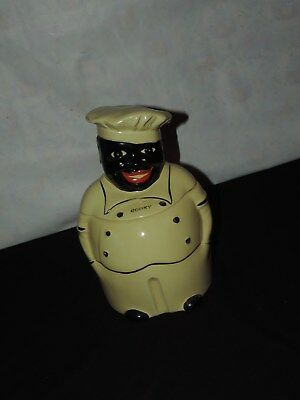 Black Americana COOKY COOKIE JAR CHEF Pearl China Co Yellow Ware 1940's (h68)