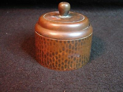 Original Arts And Crafts Period Roycroft Hammered Copper Inkwell Signed