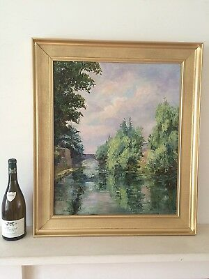 Vintage Oil Painting Grand Union / Regent's Canal Gilt Wood Frame Signed