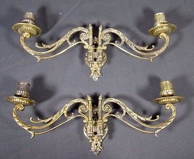 French Antique Sconce: Pair Piano Candle Holder Victorian Bronze Marked