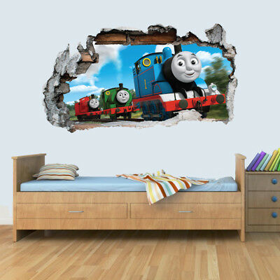 Thomas The Tank Engine 3D Smashed Wall Sticker Boys Girls Bedroom Trains
