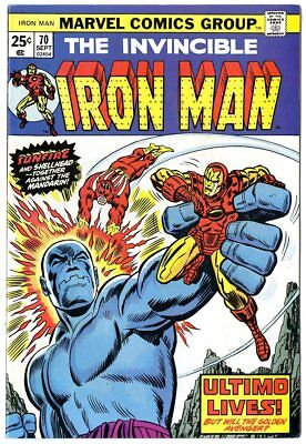Iron Man #70 NM- 9.2 ow/white pages  Ultimo Lives!  Marvel  1974  No Reserve